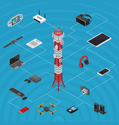 Communications tower mobile phone base and element vector