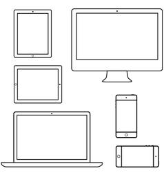 Computer laptop tablet phone isolated outlines vector