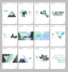 creative brochure templates with triangular design vector image