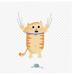 cute cartoon ginger cat character escaping of vector image