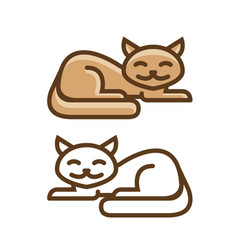 Cute cat kitty icon or symbol pet shop logo vector