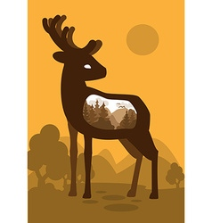 Deer in forest background with an abstract vector image