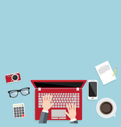 design of banner businessman using a laptop vector image