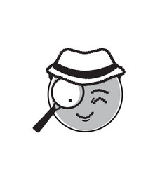Detective cartoon face wear hat suspecting happy vector