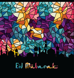 eid mubarak greeting muslim islamic celebration vector image