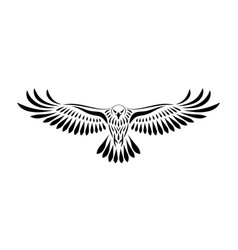 engraving of stylized hawk on white background vector image