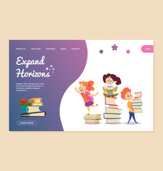 expand horizons concept reading landing vector image