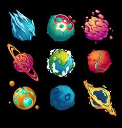 fantastic planets cartoon galaxy ui game asteroids vector image