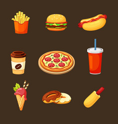 fast food set delicious hot hamburger pepperoni vector image