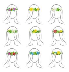 Flower wreaths set vector