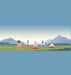 girls yoga mountains vector image