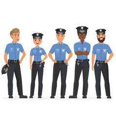 Group of cartoon security police officers woman vector