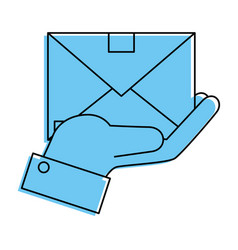 Hand holding a envelope icon vector