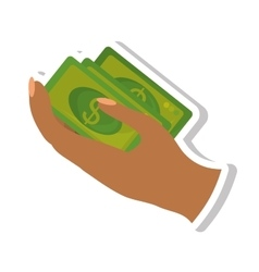 Hand human with bills money dollar isolated icon vector