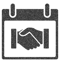 Handshake Calendar Day Grainy Texture Icon vector