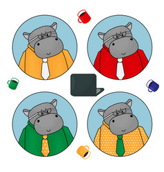hippo is office clerk official representative vector image