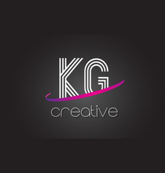 kg k g letter logo with lines design and purple vector image