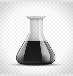 Laboratory glass flask with black oil vector