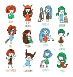 Little girls in the form of zodiac signs vector image