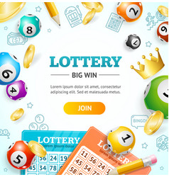 Lottery concept banner card with realistic 3d vector