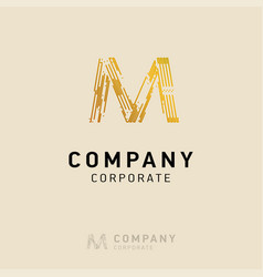 m company logo design with visiting card vector image