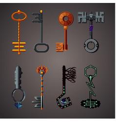 magic keys fantasy set cartoon icons collection vector image