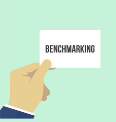 Man showing paper benchmarking text vector