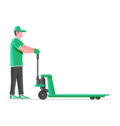 Man with hand pallet jack lift isolated on white vector