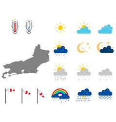 Map rio de janeiro with weather symbols vector