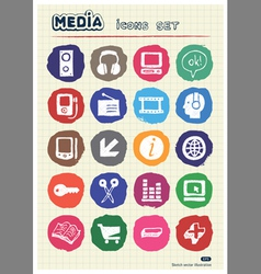 Media and business icons set drawn by chalk vector
