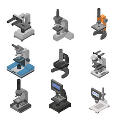 Microscope icon set isometric style vector