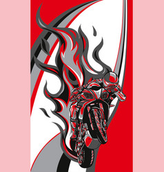 Motorcycle racing with fire vector