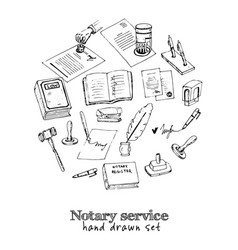 notary service isolated hand drawn doodles vector image