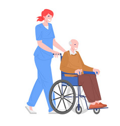 nurse with disabled man in wheelchai vector image