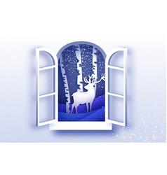 Origami window frame deer in paper cut style vector