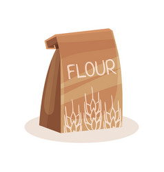 Package of flour baking and cooking ingredient in vector