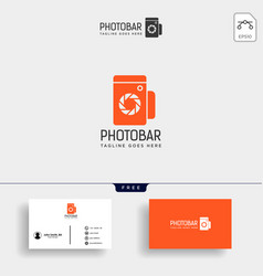 Photo bar camera and bar or wine creative logo vector