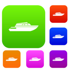 Planing powerboat set collection vector