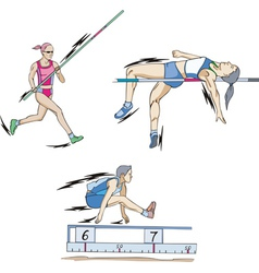Pole vault High jump and Long jump vector