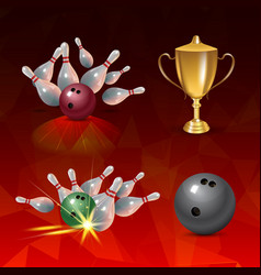 Realistic bowling icon set on red triangular vector
