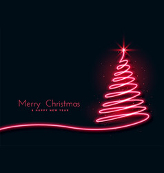 red neon christmas tree creative design background vector image