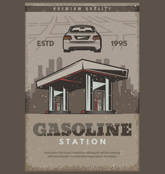 retro poster of gasoline station vector image