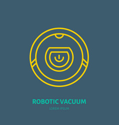 Robotic vacuum cleaner flat line icon logo vector