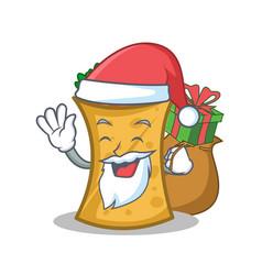 Santa with gift kebab wrap character cartoon vector