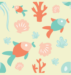 seamless ocean background with fish coral shell vector image
