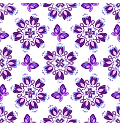 Seamless pattern with violet vintage flowers vector image