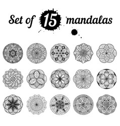 Ser of 15 mandalas vector