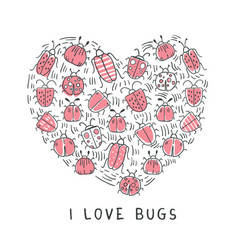 set of doodle insects in form of the heart vector image