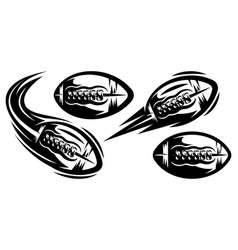 Set templates for american football flying vector
