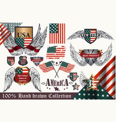 set vintage elements united states symbols vector image